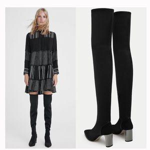 Zara Heeled Black Fabric Boot